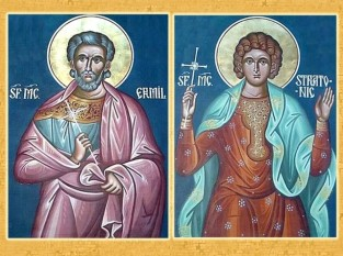 Sfinţii Mucenici Ermil şi Stratonic au trăit în secolele III – IV în ţinutul Iliricului şi al Dunării de mijloc. Au primit mucenicia la Singidunum (Belgradul de azi) în anul 303; Biserica Ortodoxă îi prăznuieşte la 13 ianuarie, ziua trecerii lor la Domnul - foto: basilica.ro