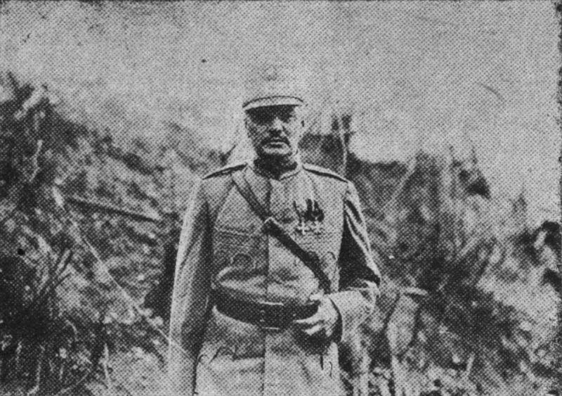 """Ernest Broşteanu (n. 24 ianuarie 1869, Roman - d. 6 iunie 1932) a fost unul dintre generalii Armatei României din Primul Război Mondial. A îndeplinit funcţii de comandant de regiment şi divizie în campaniile anilor 1916, 1917, şi 1918. A fost decorat cu Ordinul """"Mihai Viteazul"""", clasa III, pentru modul cum a condus Regimentul 53 Infanterie în luptele din Dobrogea, de la începutul campaniei din 1916, fiind unul din cei doisprezece ofițeri care au fost primii decorați cu acest ordin (Brevetul nr. 2) - (Generalul Ernest Broșteanu în Basarabia în anul 1918) - foto preluat de pe  ro.wikipedia.org"""