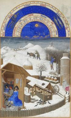 Februarie - Les Très Riches Heures du duc de Berry - foto preluat de pe ro.wikipedia.org