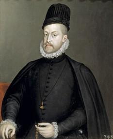 Filip al II-lea (spaniolă Felipe II de Habsburgo; portugheză Filipe I; n. 21 mai 1527 – d. 13 septembrie 1598) a fost rege al Spaniei în perioada 1556 - 1598, rege al Neapolelui și al Siciliei în perioada 1554 - 1598, rege al Angliei și Irlandei (co-regent cu Maria I) în perioada 1554 - 1558, rege al Portugaliei și al Algarvelor (ca Filip I) în perioada 1580 - 1598 și rege al Capitanatului general Chile (Regatul Chile) în perioada 1554 - 1556. A fost prinț suveran al Celor Șaptesprezece Provincii din 1556 până în 1581 și a deținut numeroase titluri de duce și conte pentru anumite teritori - in imagine, Filip al II-lea, portret de Sofonisba Anguissola - foto: ro.wikipedia.org