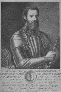 Giovanni de Verrazzano (c. 1485 - c. 1528) a fost un explorator italian al Americii de Nord, în serviciul coroanei franceze. El este renumit datorită faptului că este primul european care a reusit să exploreze Oceanul Atlantic pe coasta Americii de Nord, între Carolina de Sud și Terra Nova în 1539, inclusiv golful din New York. Din acest motiv Podul Verrazano-Narrows este numit în onoarea lui, precum și Podul Jamestown -Verrazzano de peste estuarul Narragansett -  in imagine, Traducere a descrierii în italiană: « Giovanni ... din Verrazzano, Patrician Florentin, Mare Căpitan, Comandant de Navă al Prea Creștinului Rege Francisc I și Descoperitorul Noii Franțe. Născut circa 1485, Decedat în 1525... » - foto: ro.wikipedia.org