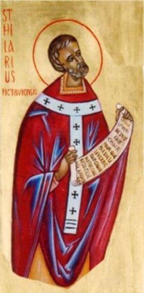 Sfântul Ilarie de Poitiers (n. cca. 315 - d. 367) a fost episcop de Poitiers, Franţa şi un cunoscut teolog. Mai este cunoscut şi sub numele de Ilarie din Pictavium, după numele latin din acea perioadă a oraşului Poitiers. Sf. Ilarie a luptat împotriva arianismului în Occident. Prăznuirea sa se face la 13 ianuarie - foto: doxologia.ro