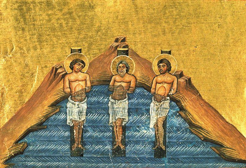 Sfinții Mucenici In, Pin și Rim - miniatură din Menologhionul lui Vasile al II-lea Macedoneanul (anii 976-1025; Vat. GR 1613.. P. 337) - foto: wikimedia.org