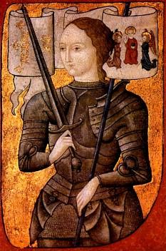 Ioana d'Arc (în franceză: Jeanne d'Arc; n. 6 ianuarie 1412 – d. 30 mai 1431) este una din figurile emblematice ale Franței și sfântă a Bisericii Catolice dar și foarte controversată întrucât unii autori au considerat că era schizofrenică (auzea voci). A fost supranumită de naționaliștii francezi Fecioara din Orleans și i s-a atribuit faptul că, în urma unor viziuni, Dumnezeu i-a spus să elibereze pământurile Franței care erau dominate de Anglia după Războiul de 100 de ani (1337–1453) - foto: ro.wikipedia.org