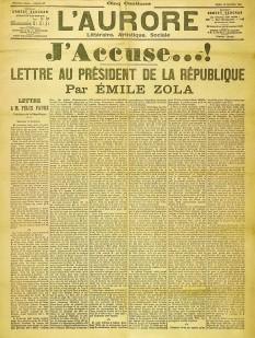 """Scrisoarea deschisă """"J'accuse"""" (în traducere, Acuz) a fost o scrisoare deschisă publicată la 13 ianuarie 1898, în ziarul L'Aurore de către influentul scriitor Émile Zola. Scrisoarea era adresată președintelui Franței Félix Faure, și în ea guvernul era acuzat de antisemitism și de încarcerarea ilegală a lui Alfred Dreyfus, un ofițer francez condamnat la închisoare pe viață pentru spionaj - foto: ro.wikipedia.org"""