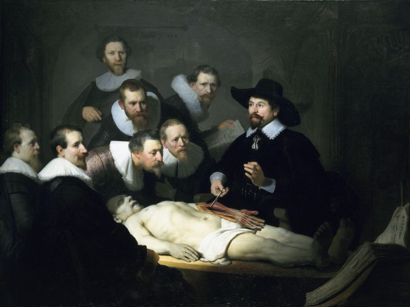 """""""Lecţia de anatomie a doctorului Nicolaes Tulp"""" (Rembrandt - 1632 - Mauritshuis, Haga) - foto: ro.wikipedia.org"""