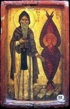 Sfântul Cucios Macarie cel Mare (295-392 d. Hr.), cunoscut și ca Macarie Egipteanul, a fost unul dintre Părinţii pustiei egiptene cu cea mai mare autoritate, fiind ucenic al sfântului Antonie cel Mare. Biserica Ortodoxă îl pomeneşte pe 19 ianuarie. Biserica Coptă îl pomeneşte pe 5 aprilie (Baramhat 27 după calendarul copt) şi pe 25 august (19 Mesra), data întoarcerii moaştelor sale la mănăstirea sa din pustia schetică. Biserica Romano-Catolică îl pomeneşte pe 15 ianuarie - in imagine, Sfântul Cucios Macarie cel Mare cu un heruvim - foto: ro.orthodoxwiki.org