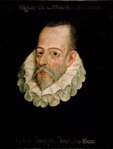 """Miguel de Cervantes Saavedra (n. 29 septembrie 1547, Alcalá de Henares - d. 22 aprilie 1616, Madrid) a fost un romancier, poet și dramaturg spaniol, considerat simbolul literaturii spaniole, cunoscut în primul rând ca autorul romanului """"El ingenioso hidalgo don Quijote de la Mancha"""", (""""hidalgo"""" este un reprezentant al micii nobilimi) pe care mulți critici literari l-au considerat primul roman modern și una din cele mai valoroase opere ale literaturii universale - in imagine, Miguel de Cervantes Saavedra (tablou atribuit lui Juan de Jáuregui și care se presupune că îl reprezintă pe Cervantes) - foto: ro.wikipedia.org"""
