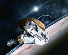 New Horizons (în română Noi Orizonturi) este o sondă spațială lansată de NASA, la 19 ianuarie 2006, în cadrul Programului New Frontiers și concepută pentru studierea sistemului Pluton (planetă pitică) - Charon (satelitul acestuia) - in imagine, New Horizons lângă Pluton (în reprezentarea artistului) - foto: ro.wikipedia.org