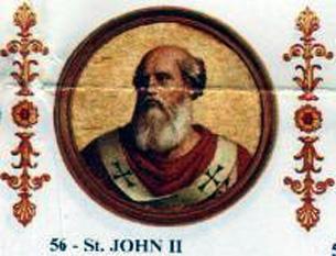 Papa Ioan al II-lea a fost un Papă al Romei în anii 533 - 535 - foto: ro.wikipedia.org