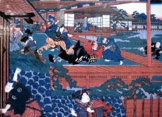 Pictură tradiţională niponă d etip Ukio-E care reprezintă momentul în care Asano l-a atacat pe Kira    Sursa foto: Shutterstock - preluat de pe descopera.ro