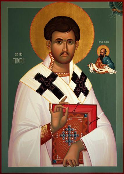 """Sfântul, slăvitul și întru tot lăudatul Apostol Timotei (adormit în anul 80 d.Hr.) a fost un episcop din primul secol. Prăznuirea sa se face în 22 ianuarie. Numele său, din grecescul Τιμοθεος, înseamnă """"slăvind pe Dumnezeu"""" - foto: sfnectariecoslada.ro"""
