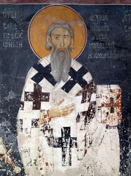 Sfântul Sava (c. 1175 – 27 ianuarie 1235) a fost un prinţ sârb a Zahulmiei şi călugăr ortodox, primul arhiepiscop al Bisericii Ortodoxe Sârbe autocefale, creatorul literaturii şi legislaţiei sârbe, fondatorul Mănăstirii Hilandaru de pe Muntele Athos şi un diplomat - in imagine, Frescă a Sfântului Sava în Biserica Regelui, Mănăstirea Studenița, Serbia - foto: ro.wikipedia.org