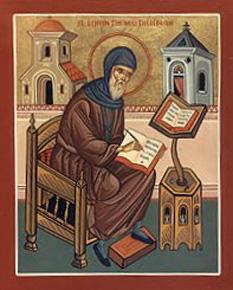 """Cuviosul şi de Dumnezeu purtătorul părintele nostru Simeon Noul Teolog (949–1022) este unul din cei trei sfinţi ai Ortodoxiei care poartă titlul de """"Cuvântător de Dumnezeu"""" (ceilalţi doi fiind Sf. Apostol şi Evaghelist Ioan şi Sf. Grigorie Teologul). Prăznuirea lui în Biserica Ortodoxă se face în ziua de 12 martie - foto: ro.orthodoxwiki.org"""
