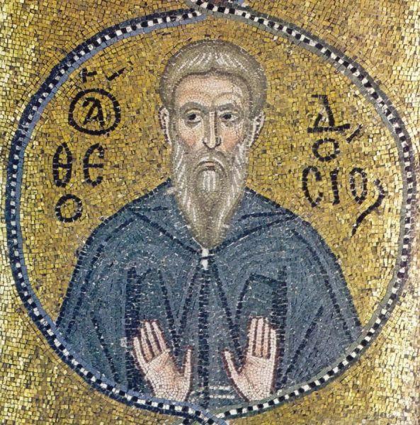 """Cuviosul Teodosie cel Mare (gr. Θεοδόσιος ὁ Μέγας; sl. Феодосий Киновиарх), supranumit Chinoviarhul (adică """"începătorul vieții de obște""""), a trăit în perioada secolelor V-VI, în Asia Mică și în Palestina. Prăznuirea sa în Biserica Ortodoxă se face pe 11 ianuarie - in imagine, Teodosie Chinoviarhul - mozaic din mănăstirea Nea Moni (Grecia), secolul al XI-lea - foto; ro.orthodoxwiki.org"""