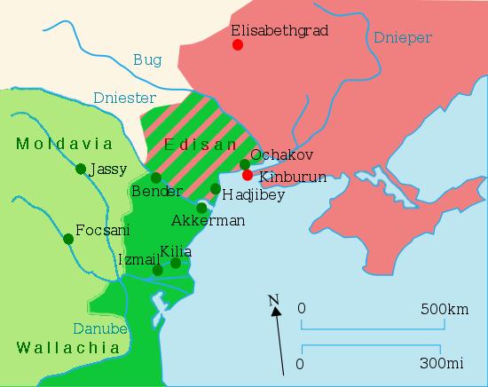 Teritoriul ocupat de Imperiul Ţarist în urma războiului ruso-turc dintre 1787 şi 1792 - foto: ro.wikipedia.org