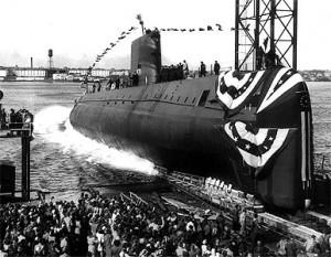"""21 ianuarie 1954:  Primul submarin bazat pe energie nucleară - """"USS Nautilus"""" este lansat la apă de Statele Unite la Groton, Conneticut - foto: ro.wikipedia.org"""