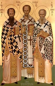 Cei între sfinți Părinții noștri Vasile cel Mare (1 ianuarie), Grigorie Teologul (25 ianuarie) și Ioan Gură de Aur (13 noiembrie) sunt cunoscuți ca Sfinții Trei Ierarhi pentru poziția de recunoaștere specială pe care o au în Biserica Ortodoxă. Prăznuirea lor împreună se face la data de 30 ianuarie - foto: calendar-ortodox.ro