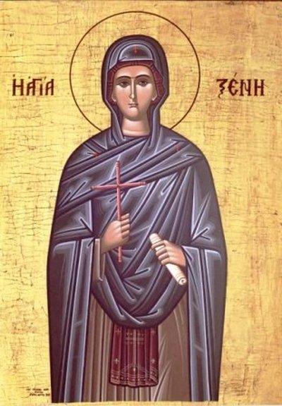 """Sfânta Cuvioasă Xenia (sau Xenia romana) a trăit la începuturile creștinismului, în secolul al V-lea. Originară din Roma, ea a îmbrăcat haina monahală și a trăit într-o continuă priveghere, înfrânare și smerenie. Numele monahal pe care și l-a ales, Xenia, se traduce prin """"străina"""", vrând să arate prin acest gest că se înstrăinează de lumea aceasta, pentru a se dedica numai celor sfinte. Biserica Ortodoxă o prăznuiește la data de 24 ianuarie - foto: ro.orthodoxwiki.org"""