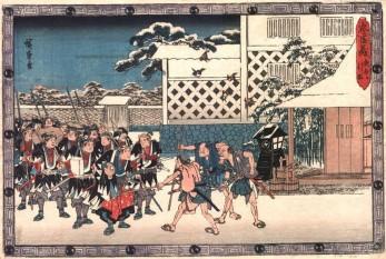 Stampă Ukio-e care reprezintă momentul în care cei 47 de samurai şi-au îăndeplinit răzbunarea şi erau opriţi pe drum de săteni care-i invitau să bea şi să mănânce - foto: descopera.ro