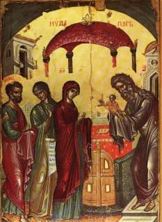 Aducerea la Templu a Pruncului Iisus, sau Întâmpinarea Domnului, este unul dintre Praznicele Împărătești ale Bisericii Ortodoxe, sărbătorit pe 2 februarie, la patruzeci de zile de la Nașterea Domnului. Această sărbătoare mai este cunoscută și sub numele de Ziua Lumânărilor, în special în țările vestice, datorită obiceiului de a binecuvânta lumânările în această zi - foto: basilica.ro