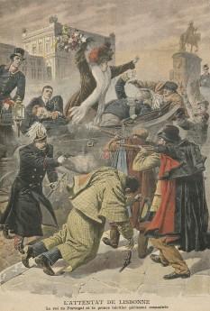 """1 februarie 1908: Regicidul de la Lisabona; regele Carlos I al Portugaliei și moștenitorul său, Dom Luís Filipe (Duce de Braganza), sunt asasinați de membri ai societății revoluționare """"Carbonária"""" - foto: ro.wikipedia.org"""