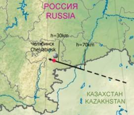 Traseul meteoritului; este însemnată poziția orașului Celeabinsk - foto: ro.wikipedia.org