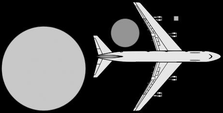 Meteoritul de la Celeabinsk (15 februarie 2013) - Dimensiunea meteoritului prin comparație cu alte obiecte (Boeing 747 și meteoritul de la Barringer); dimensiunea meteoritului din Urali este simbolizată de cercul din dreptul aripii avionului - foto preluat de pe ro.wikipedia.org