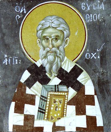 Cel întru sfinți părintele nostru Eustatie a fost arhiepiscop al Antiohiei în timpul disputelor legate de arianism din prima jumătate a secolului al IV-lea. A fost un apărător hotărât al învățăturii ortodoxe de la Sinodul I Ecumenic de la Niceea (325). Prăznuirea sa în Biserica Ortodoxă se face la 21 februarie - foto: doxologia.ro