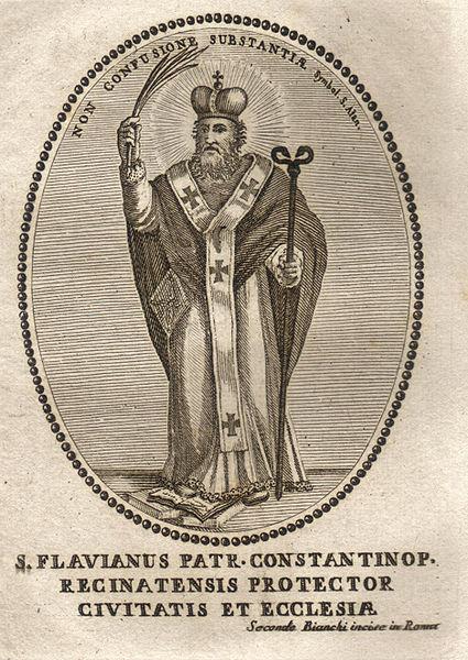 Părintele nostru în rând cu sfinții Flavian Mărturisitorul (numit și Phlabianus) a fost Patriarh al Constantinopolului din 446 până în 449. Sfântul Flavian Mărturisitorul este pomenit de Biserica Ortodoxă la 16 februarie - foto: ro.orthodoxwiki.org