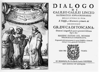 Dialog despre cele două mari sisteme ale lumii (Frontispiciul şi pagina de titlu a Dialogului) - foto: ro.wikipedia.org