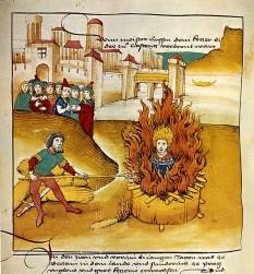 Arderea pe rug a lui Jan Hus (Spiezer Chronik, 1485) - foto: ro.wikipedia.org