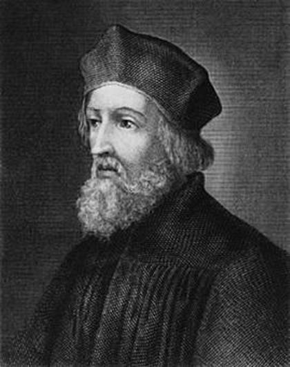 Jan Hus (1369 -1415) a fost un teolog reformator ceh, născut la Husinec, Boemia, ars pe rug pentru ideile sale anti-papale. Prin scrierile sale, Jan Hus a contribuit mult la dezvoltarea limbii cehe literare - foto preluat de pe ro.wikipedia.org