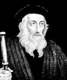 John Wycliffe (cunoscut de asemenea sub numele de Wyclif, Wycliff, sau Wickliffe) (n. cca.1320 la Ipreswell (actualmente Hipswell), Yorkshire, Anglia – d. 31 decembrie 1384 la Lutterworth (lângă Leicester)). John Wycliffe a fost un teolog englez care a invocat laicizarea proprietăților ecumenice în Anglia. John Wycliffe a invocat limitarea influenței bisericești asupra puterii politice laice în Anglia. Una din cele mai importante contribuții controversate a fost traducerea Vechiului Testament și cea a Noului Testament în limba engleză, care sunt fundamentul versiunii consacrate a Bibliei Regelui James. Una din figurile istorice cele mai importante care au fost influențate de John Wycliffe a fost Jan Hus, (1369 - 1415) - foto: ro.wikipedia.org