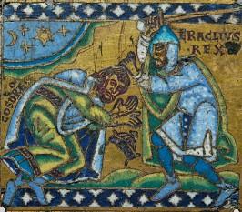"""Khosrau al II-lea (Khosrow al II-lea, Chosroes al II-lea sau Xosrov al II-lea în sursele clasice, uneori numit Parvez, """"Mereu Victorios"""" - a fost al douăzeci și doilea rege persan din dinastia sasanizilor, domnind între anii 590 - 628. El a fost fiul lui Hormizd al IV-lea (579 - 590) și nepotul lui Khosrau I (531 - 579) - in imagine, Împăratul bizantin Heraclius I supune regele sassanid Khosrau al II-lea Imagine de pe o cruce - foto: ro.wikipedia.org"""