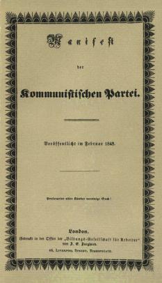 """Manifestul Partidului Comunist, denumit și Manifestul Comunist, este una din cele mai importante scrieri politice din istorie. A fost scris de Karl Marx și Friedrich Engels, și publicat pentru prima oară la Londra, în 21 februarie 1848. În manifest sunt descrise scopurile și programul Ligii Comuniste, prima organizație marxistă din lume. În limba română """"Manifestul Partidului Comunist"""" a apărut pentru prima oară la Iași în 1892, în traducerea lui Panait Mușoiu, din limba franceză, după textul cuprins în cartea lui Mermeix """"La France socialiste"""" - in imagine, Coperta primei ediţii a manifestului - foto: ro.wikipedia.org"""
