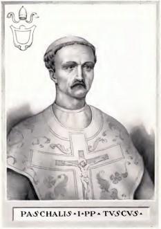 """Papa Pascal I (n. de Sfintele Paști la Roma - d. 824, Roma) a fost un papă al Romei, succesorul lui Ștefan al IV-lea. S-a aflat în fruntea Bisericii Catolice din 817 până în 824. Stareț al Mănăstirii """"Sf. Ștefan"""" din Roma, a fost ales papă în data de 25 ianuarie 817, primind garanția împăratului Ludovic cel Pios că nu se va atinge de independența Statului Bisericesc și de alegerea liberă a papei -  foto: cersipamantromanesc.wordpress.com"""