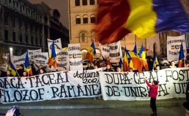 Protest al unioniştilor în Piaţa Universităţii, 20 februarie 2016 - foto: Eugen Horoiu/Epoch Times