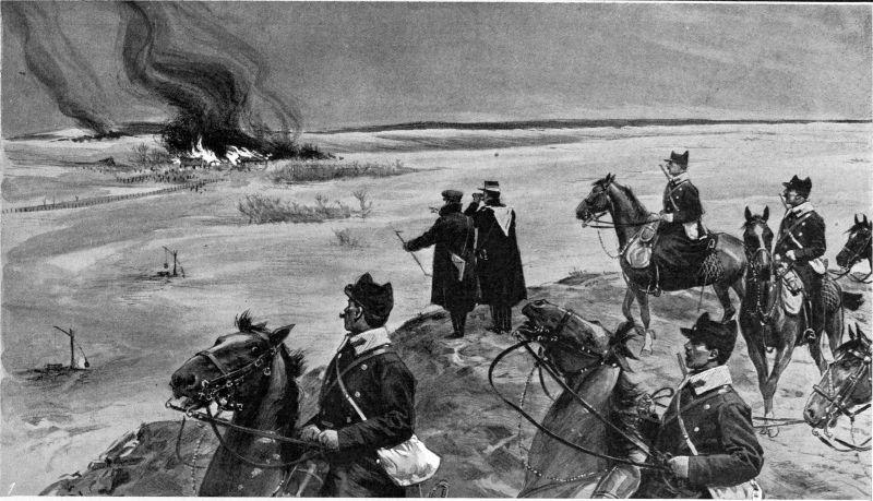"""""""Răscoala Țărănească din 1907"""" (O patrulă de cavalerie observă casele incendiate de către răsculaţi lângă Buzău) - foto preluat de pe ro.wikipedia.org"""
