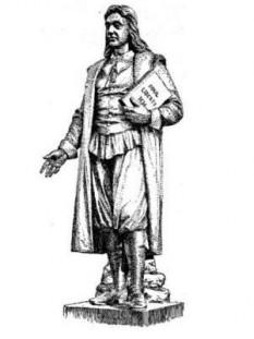 Roger Williams (c. 1603 – între ianuarie și martie 1683) a fost un teolog protestant englez, care a fost un promotor timpuriu a libertății religioase și a separării bisericii de stat. În 1636, el a fondat colonia Plantațiile Providence, care a oferit un refugiu pentru minoritățile religioase. Williams a întemeiat prima biserică Baptistă în America, Prima Biserică Baptistă din Providence. El a studiat limbile Americanilor Nativi și a fost un susținător pentru relații corecte cu Nativii Americani. Williams a fost, fără îndoială, primul aboliționist în America de Nord, care organizase prima încercare de a interzice sclavia în oricare din cele treisprezece colonii originale - in imagine, Roger Williams, statuie de Franklin Simmons - foto: ro.wikipedia.org