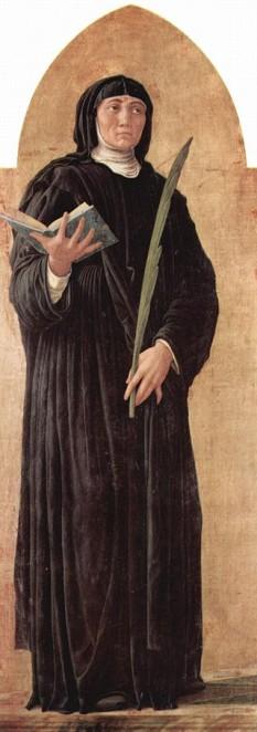 Scolastica, în latină Scholastica (n. cca. 480, Nursia, Umbria, d. cca. 547, Montecassino), a fost călugăriță italiană. Sfânta Scolastica a fost fondatoarea unei mănăstiri feminine care a adoptat regula Sfântului Benedict. Tradiția spune că a fost sora geamănă a Sf. Benedict de Nursia, întrucât se pare că s-au născut în același an. Este cunoscută doar prin ceea ce a scris papa Grigore cel Mare în Dialogurile sale. Împreună cu fratele ei s-a consacrat lui Dumnezeu și l-a urmat la Montecassino, unde locuia în apropiere de mănăstirea fratelui ei. O dată pe an, fratele ei, Benedict, o vizita pentru o convorbire spirituală. Ultima convorbire a fost ieșită din comun, prelungindu-se până târziu, în noapte. Scolastica l-a silit pe fratele ei să rămână, cerând în rugăciune o furtună, din cauza căreia n-a putut pleca din casă. Legenda spune că, după trei zile de la această întâmplare, Benedict a văzut sufletul surorii lui, ridicându-se la cer, sub chip de porumbel. Este sărbătorită liturgic, în Biserica Catolică, la 10 februarie, precum și în Biserica Anglicană. Pe plan local, este sărbătorită, la aceeași dată, și în unele episcopii ortodoxe din Europa occidentală - in imagine, Sfânta Scolastica. Pictură de Andrea Mantegna - foto: ro.wikipedia.org