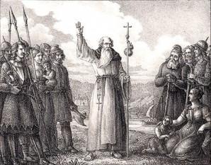 Oscar (Ansgarius) (n. 801, Galia — d. 865, Bremen) a fost un călugăr benedictin, arhiepiscop de Hamburg și ulterior sfânt. El este cunoscut și sub numele de Apostolul Nordului. Sărbătorit în Biserica catolică la 3 februarie - in imagine, Sfântul Oscar predicând învățăturile creștine vikingilor - foto: ro.wikipedia.org