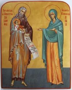 Sfântul și Dreptul Simeon, primitorul de Dumnezeu și Sfânta Proorociță Ana. Prăznuirea lor în Biserica Ortodoxă se face la data de 3 februarie - foto: basilica.ro