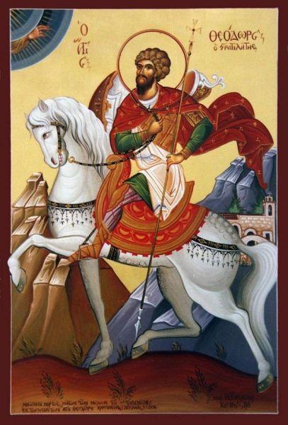 Sfântul mare mucenic Teodor Stratilat este un sfânt militar din secolul al IV-lea, foarte popular în Biserica Ortodoxă. Prăznuirea lui se face la data de 8 februarie, iar pomenirea aducerii moaștelor lui la Evhaita se face pe 8 iunie - foto: basilica.ro