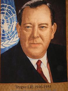 Trygve Halvdan Lie (16 iulie, 1896 – 30 decembrie, 1968) a fost un politician norvegian. Între 1946 și 1952 a ocupat postul de Secretar General al Națiunilor Unite, fiind primul secretar general ales - foto: cersipamantromanesc.wordpress.com