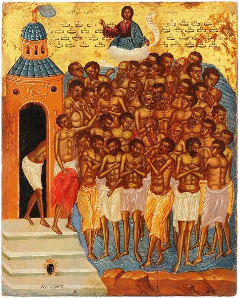 Sfinții 40 de mucenici din Sevastia au fost un grup de patruzeci de ostași romani care au pătimit în timpul persecuțiilor împotriva creștinilor, primind martiriul prin zdrobirea oaselor și apoi arderea trupurilor, în anul 320. Pomenirea celor 40 de Sfinți Mucenici în Biserica Ortodoxă se face la 9 martie - in imagine, Sfinții 40 de mucenici din Sevastia, icoană din Creta (Philotheos Scoufos, cca. 1665) - foto: ro.orthodoxwiki.org