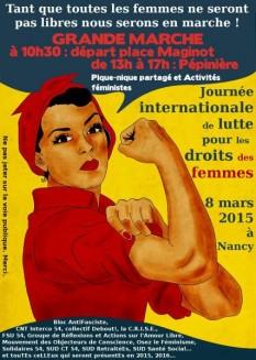 Afișul marșului de 8 martie 2015 de la Nancy - foto: cersipamantromanesc.wordpress.com