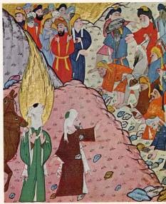 Abdallah ibn Osman Abu-Bakr (573 - 643), a fost primul calif arab (632-634). A întreprins campanii militare în urma cărora a cucerit Mesopotamia (Irakul de azi) și Palestina. Era unul din însoțitorii lui Mahomed și socrul acestuia, dar era și cel mai bun prieten al profetului. El a crezut în spusele lui Mahomed, motiv pentru care este cunoscut și sub numele de Al-Siddiq (cel ce crede). Mormântul său se află în moscheea din Medina, alături de ceilalți trei califi care l-au succedat - in imagine, Abu Bakr (îmbrăcat în roșu) , oprindui pe necredincioși să mai arunce cu pietre în profet - foto: ro.wikipedia.org
