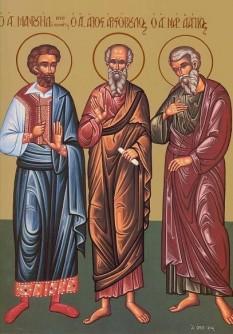 Sfinţii Mucenici Agapie, Plisie, Timolau († 303-305) Aceşti sfinţi mucenici au pătimit în vremea împăratului Diocleţian (284-305) în Cezareea Palestinei, din porunca guvernatorului Urban. Agapie era din cetatea Gaza, Timolau din Pont, Plisie (Puplie) era din Egipt. Prăznuirea lor în Biserica Ortodoxă se face la 15 martie - foto: basilica.ro