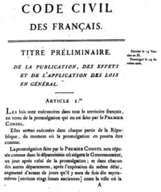 21 martie 1804: In Franta intră în vigoare codul civil, numit si Codul lui Napoleon care, alături de codul comercial (1808) și de cel penal (1810), reprezintă baza juridică a noului stat francez dupa profundele transformari sociale aparute in urma revolutiei - in imagine, Codul civil napoleonian (prima pagină a ediției originale din 1804) - foto: ro.wikipedia.org